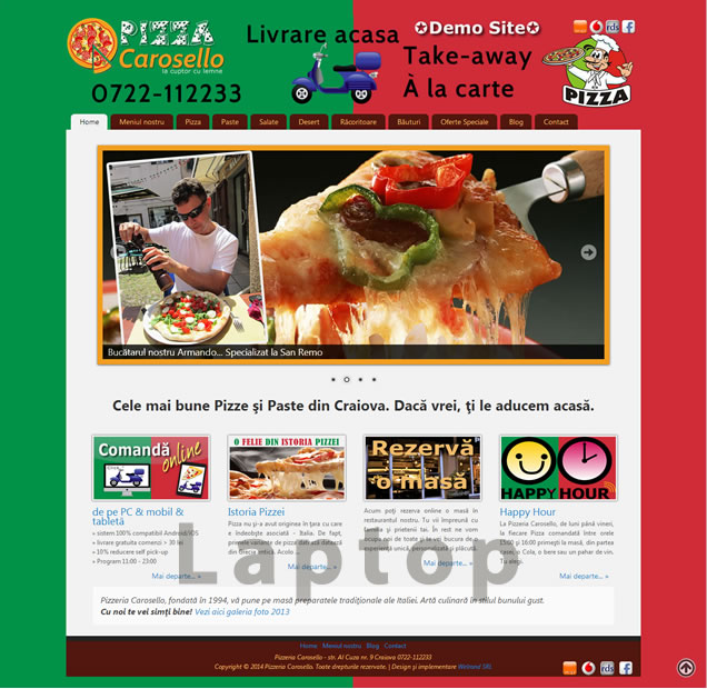 website restaurant pizzerie laptop